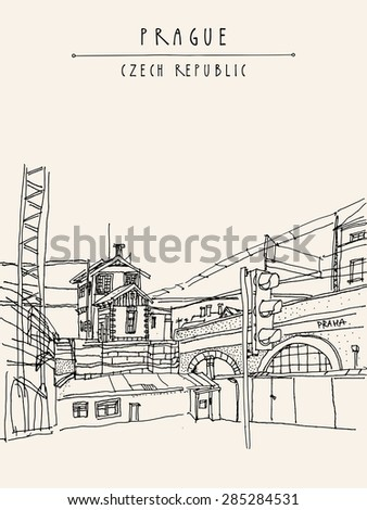 Vector hand drawn artistic illustration of old industrial buildings near bus station in Prague, Czech republic, Europe. Steam punk postcard template. Grungy drawing industrial greeting card design - stock vector
