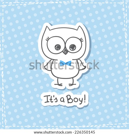 vector hand drawn baby owl, baby shower card template, it's a boy - stock vector