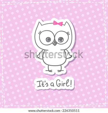 vector hand drawn baby owl, baby shower card template, it's a girl - stock vector