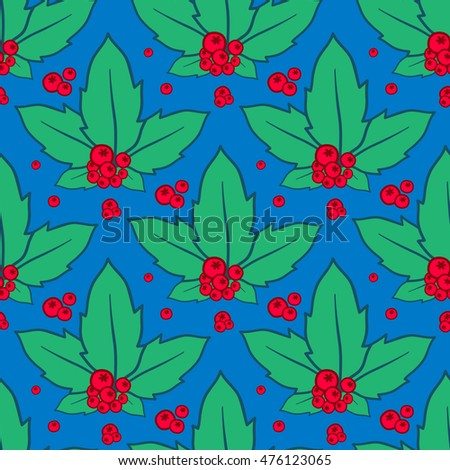 Vector hand drawn background, design element for greeting card, fabric, wrapping paper. Holly with berry. Christmas seamless pattern