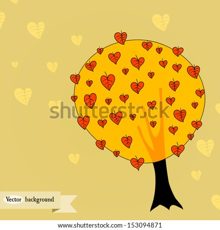 Vector hand drawn background with an autumn tree.