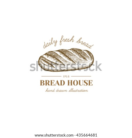 Vector hand drawn bakery logo, badge, emblem. Bread illustration.