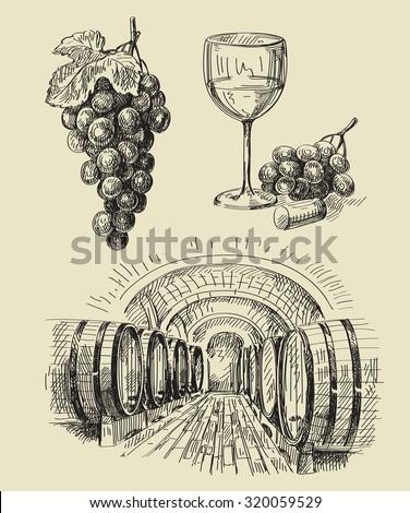 vector hand drawn barrels sketch and vineyard doodle - stock vector