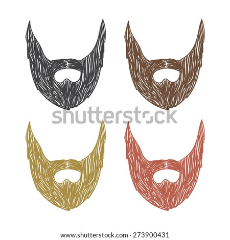 vector hand drawn beard set. sketch on a white background