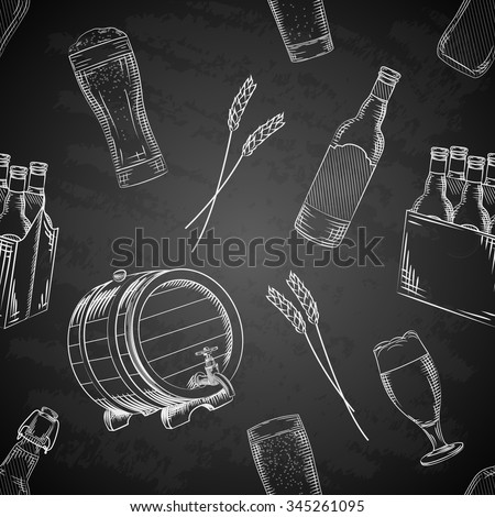 Vector hand drawn beer, brewery or pub elements seamless pattern - stock vector