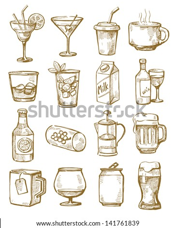 vector hand drawn beverages icons set on white - stock vector