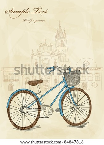 Vector hand drawn bicycle - stock vector
