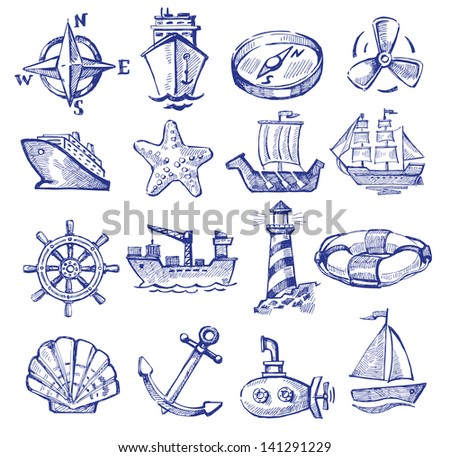 vector hand drawn boat and ship icons set on white - stock vector