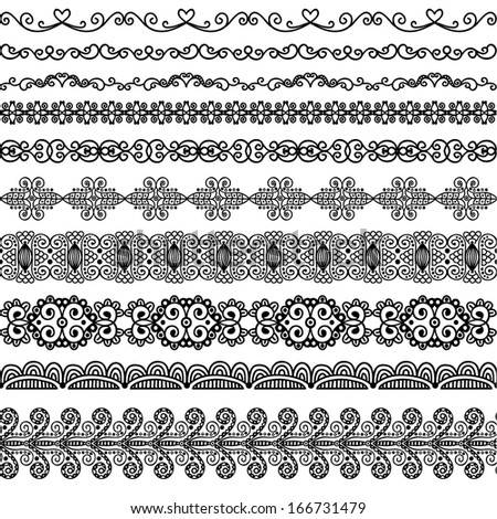 Vector hand-drawn border decoration elements patterns in black and white