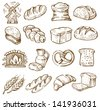 vector hand drawn bread icons set on white - stock vector