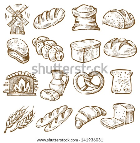 Bread Rolls Drawing Vector Hand Drawn Bread Icons