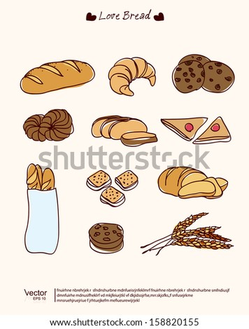 vector hand drawn bread set