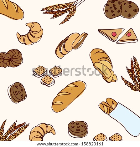 vector hand drawn bread set background