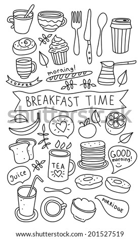 Vector hand drawn breakfast morning coffee and food