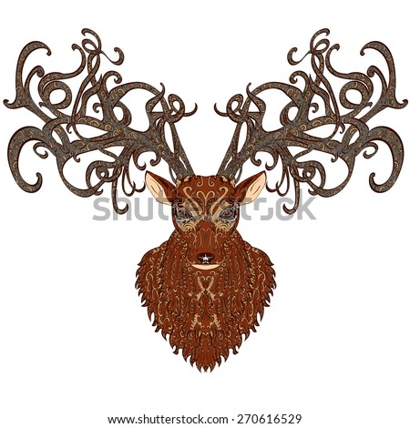 Vector hand drawn brown deer covered with vintage ornament - stock vector