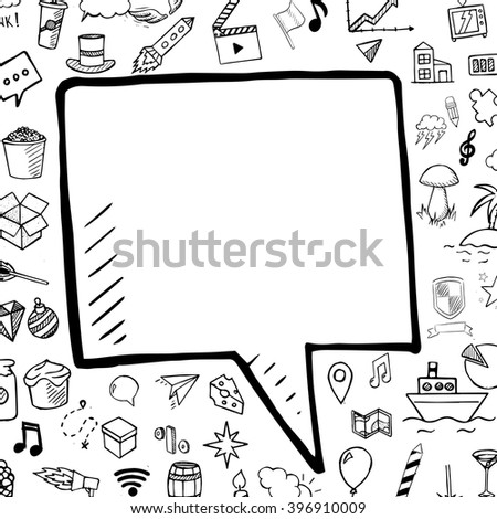 Vector hand drawn bubble speech, doodle illustration with elements on white background - stock vector