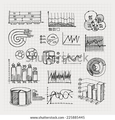 vector hand drawn business charts for finance statistics and doodle infographics - stock vector