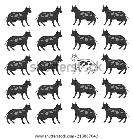 Vector hand drawn cartoon black cows - stock vector