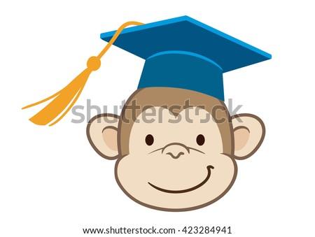 Vector hand drawn cartoon character mascot illustration of a cute happy monkey face in blue mortarboard graduate cap with tassel. Funny humorous graduation concept for school, preschool, kindergarten - stock vector