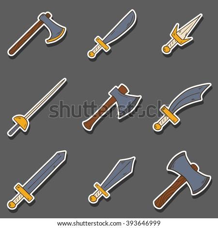Vector hand drawn cartoon game weapon illustration. Historical steel arms. Warrior cartoon equipment. Vector blade, sword, axe weapon. Steel arms set. Hand drawn vector swords. Game weapon collection - stock vector