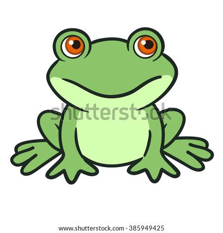 Vector hand drawn cartoon illustration of a cute funny green sitting frog character. - stock vector