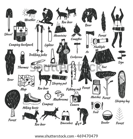 Vector hand drawn cartoon seamless camping icons. Picnic, travel and camping theme. Black and white camping icons. Textile, paper, polygraphy, game, web design