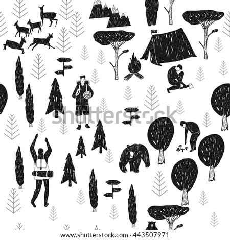 Vector hand drawn cartoon seamless camping pattern. Picnic, travel and camping theme. Black and white camping pattern. Textil, paper, polygraphy, game, web design - stock vector