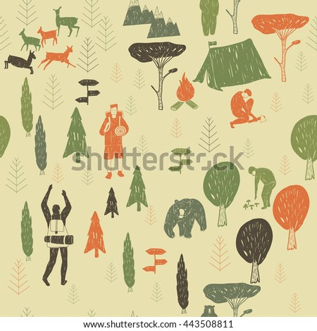 Vector hand drawn cartoon seamless camping pattern. Picnic, travel and camping theme. Retro colored camping pattern. Textil, paper, polygraphy, game, web design
