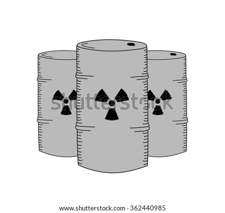 Vector hand drawn Chemical waste in barrels. Creative radioactive concept sketch  - stock vector