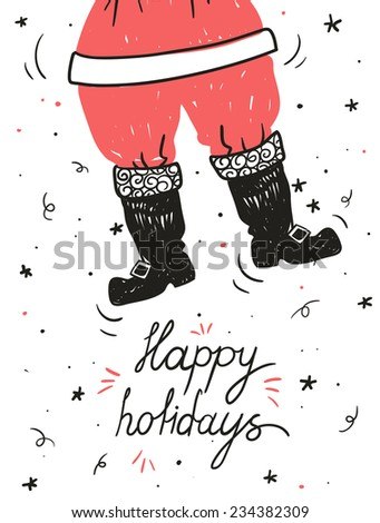 vector hand drawn Christmas illustration of the flying Santa - stock vector