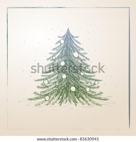 Vector hand drawn christmas tree illustration - stock vector