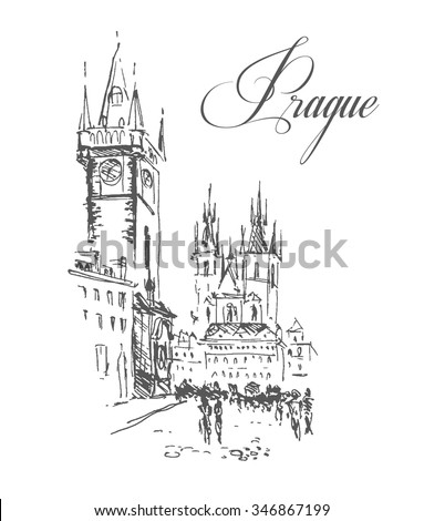 Vector hand drawn city sketches. Prague architecture. Ink drawing. Ancient European buildings. Good for poster, placard, advertising, any graphic design, book illustration. - stock vector