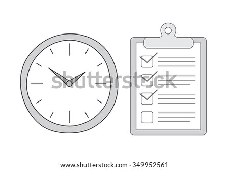 Vector hand drawn clock and to do list. time management concept sketches - stock vector