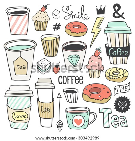 Vector hand drawn coffee and sweets collection. Plastic and paper coffee and tea cups, donuts, cupcakes, cute elements. Use for menu design, web page background, poster, birthday card, surface texture - stock vector