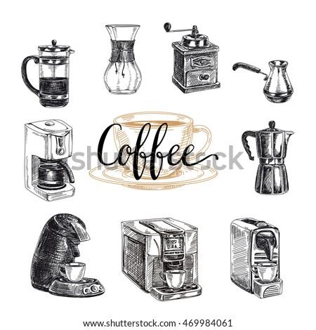 Vector Hand Drawn Coffee Set ProductsVector Illustration Sketch