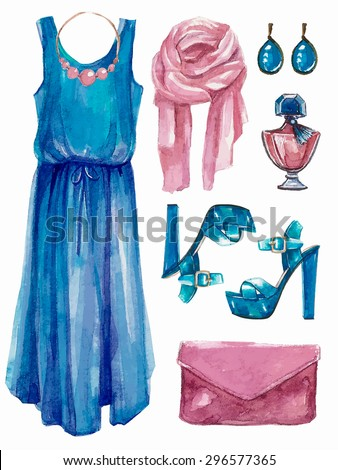 Vector hand drawn collage of summer,spring  girl clothing and accessories isolated on white background. Outfit of casual romantic  woman style. Create by watercolor  - stock vector