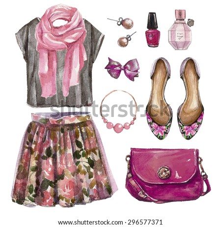 Vector hand drawn collage of summer,spring girl clothing and accessories isolated on white background. Outfit of casual  woman style. Create by watercolor  - stock vector