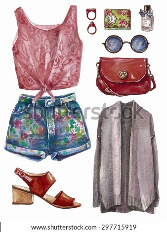 Vector hand drawn collage of summer spring girl clothing and accessories isolated on white background. Outfit of casual and hipster woman style. Create by watercolor  - stock vector