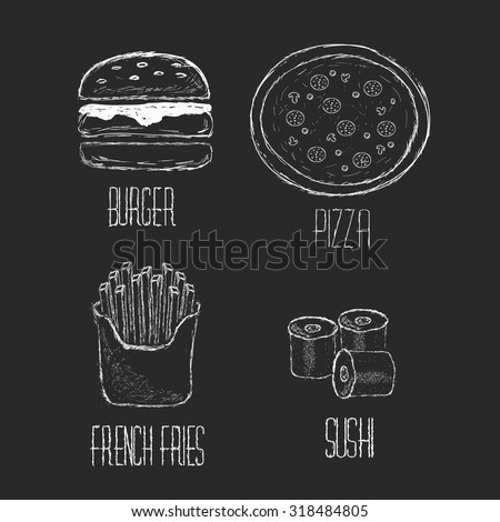 Vector Hand drawn collection of fast food, junk food. Set Sushi, pizza, burger and french fries hand drawn concept.