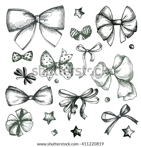 Vector hand drawn collection of lush bows and confetti. Vintage decoration for traditional holidays and gift boxes. Concept illustration. - stock vector