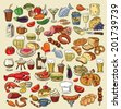 vector hand drawn color food on white - stock photo