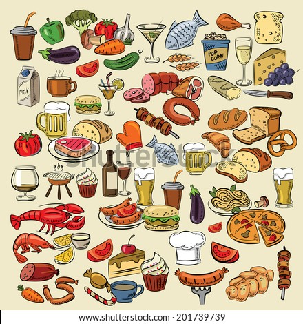 vector hand drawn color food on white - stock vector
