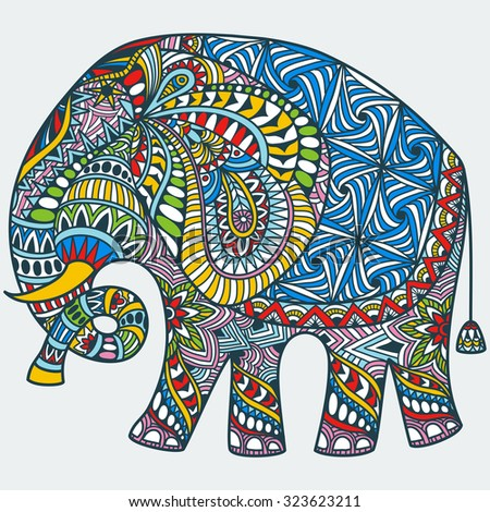 vector hand drawn color tattoo doodle with decorated indian elephant