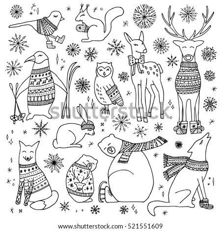 Vector Hand Drawn Cute Forest Animals Collection Stylish And Elegant Cartoon