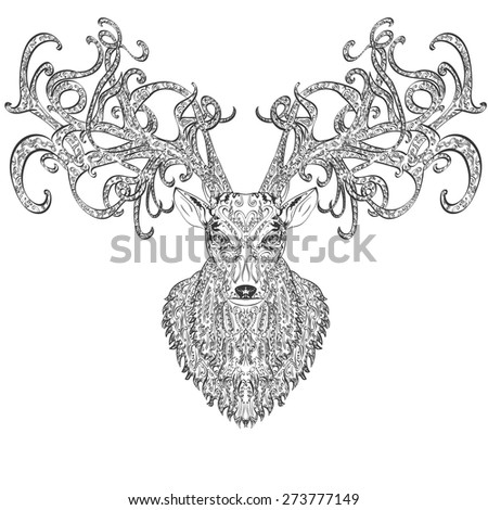 Vector hand drawn deer covered with vintage ornament - stock vector