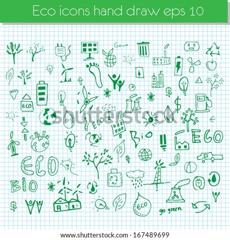 Vector hand drawn design elements - eco - stock vector