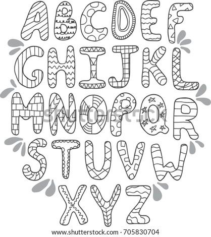 Vector hand drawn doodle alphabet letters stock vector 2018 vector hand drawn doodle alphabet letters altavistaventures Gallery
