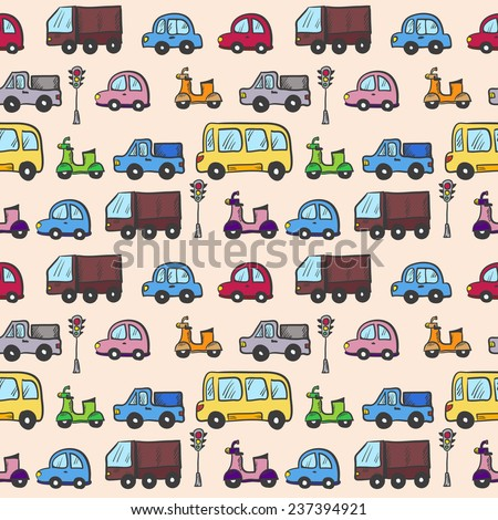 Vector hand drawn doodle cartoon cars seamless pattern - stock vector