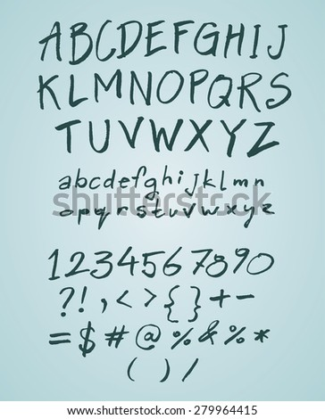 Vector hand drawn doodle font with numbers - stock vector