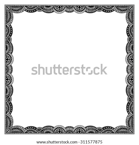 Vector hand drawn doodle frame with floral ornament. Black elements on white background. - stock vector
